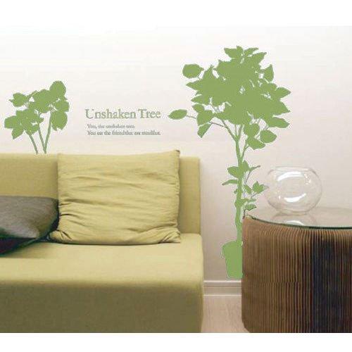 ウォールステッカー/2つの鉢植え/オリーブ